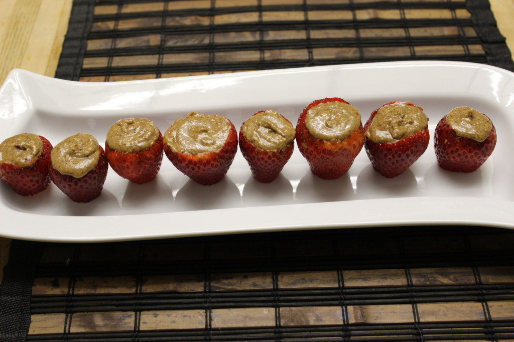 almond butter stuffed strawberries 10